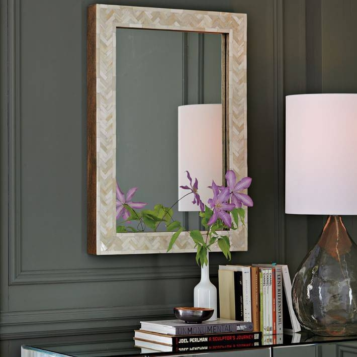 Parsons Small Wall Mirror – Bone Inlay | West Elm In Parsons Wall Mirrors (#5 of 15)