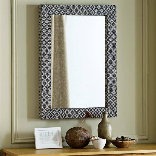 Parsons Wall Mirror – Diamond Grass Cloth | West Elm In Parsons Wall Mirrors (#8 of 15)