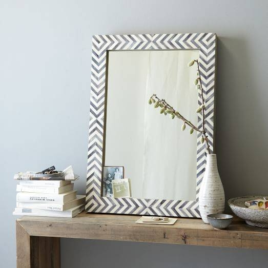 Parsons Wall Mirror – Gray Herringbone | West Elm With Grey Wall Mirrors (#11 of 15)