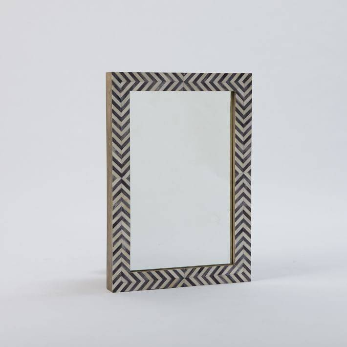 Parsons Wall Mirror – Gray Herringbone | West Elm With Parsons Wall Mirrors (#10 of 15)