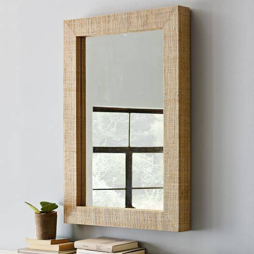 Parsons Wall Mirror – Natural Grass Cloth | West Elm Inside Parsons Wall Mirrors (#12 of 15)