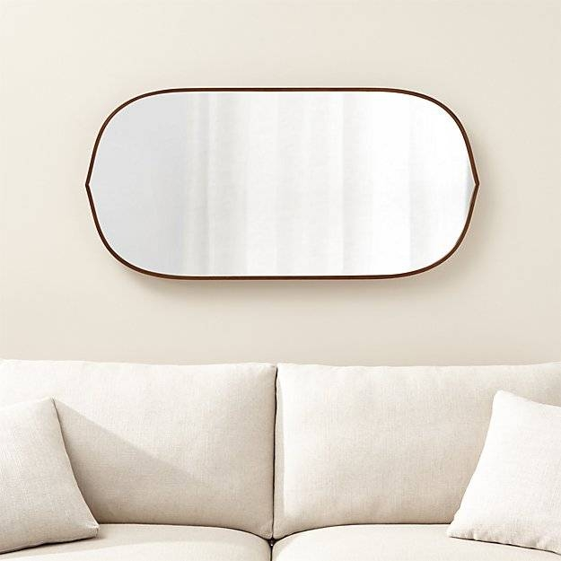 Penarth Walnut Oval Wall Mirror | Crate And Barrel Throughout Walnut Wall Mirrors (#10 of 15)