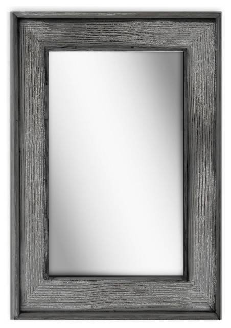 "Petra Wood Rectangular Wall Mirror, Charcoal Gray, 24""x36"" – Beach For Grey Wall Mirrors (#12 of 15)"
