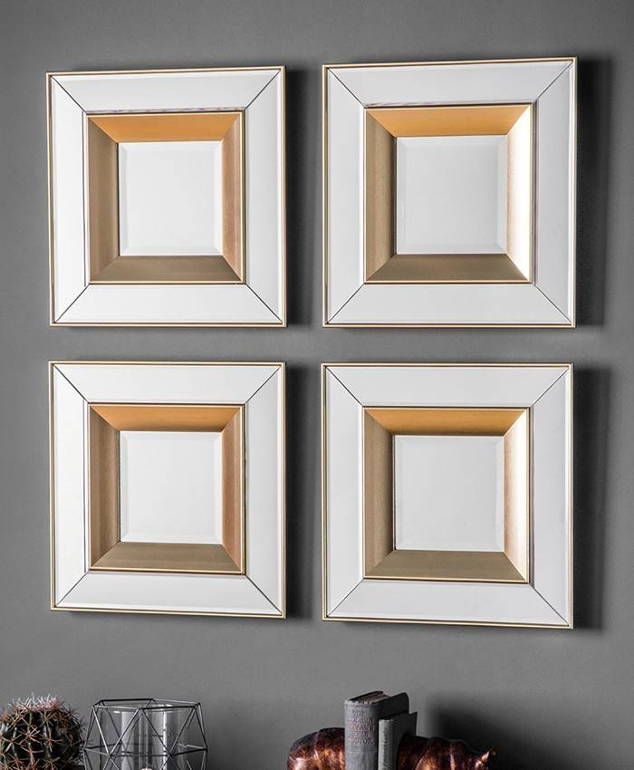 Phantom Square Mirrors – Set Of 4 – Brand Interiors With Regard To Wall Mirror Sets Of (View 5 of 15)