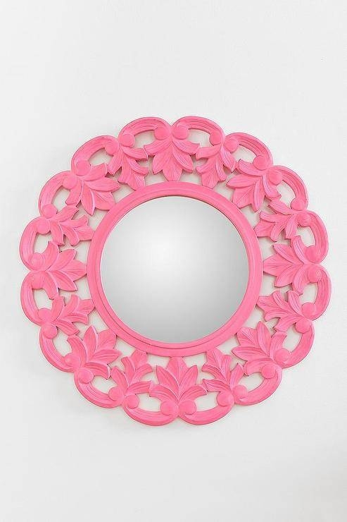 Pink Flower Crown Wall Mirror Regarding Girls Wall Mirrors (View 5 of 15)