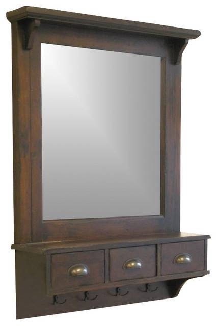 Proman Products Bombay Wall Mirror In Dark Walnut – Transitional In Wall Mirrors With Drawers (#12 of 15)
