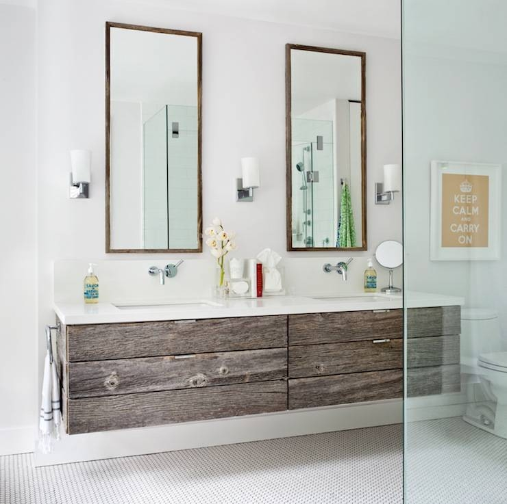 Inspiration about Reclaimed Wood Floating Vanity – Contemporary – Bathroom For Tall Bathroom Mirrors (#13 of 15)