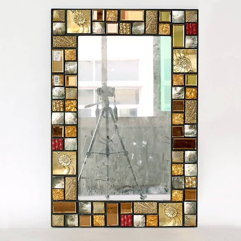 Inspiration about Rectangle Antique Decorative Mosaic Framed Wall Mirrors Art In Mosaic Framed Wall Mirrors (#4 of 15)