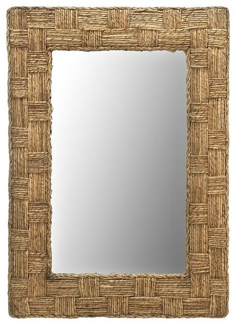 Rectangular Checquered Wall Mirror In Rope – Tropical – Wall Pertaining To Tropical Wall Mirrors (View 15 of 15)