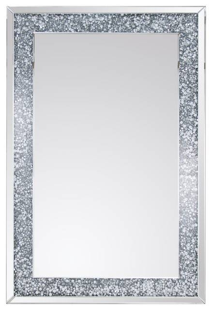 Rectangular Crystal Wall Mirror – Contemporary – Wall Mirrors – Pertaining To Crystal Wall Mirrors (#14 of 15)