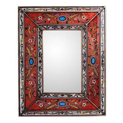 Rectangular Reverse Painted Glass Wall Mirror From Peru – Orange Regarding Hand Painted Wall Mirrors (#11 of 15)