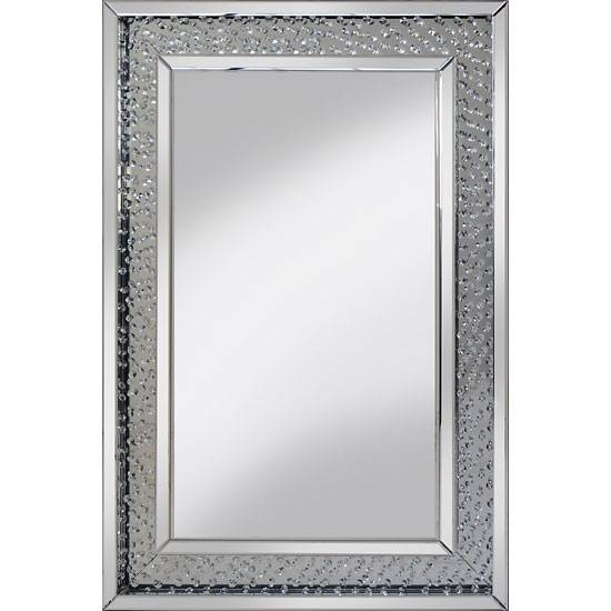 Rosalie Wall Mirror Large In Silver With Glass Crystals For Large Silver Wall Mirrors (#12 of 15)