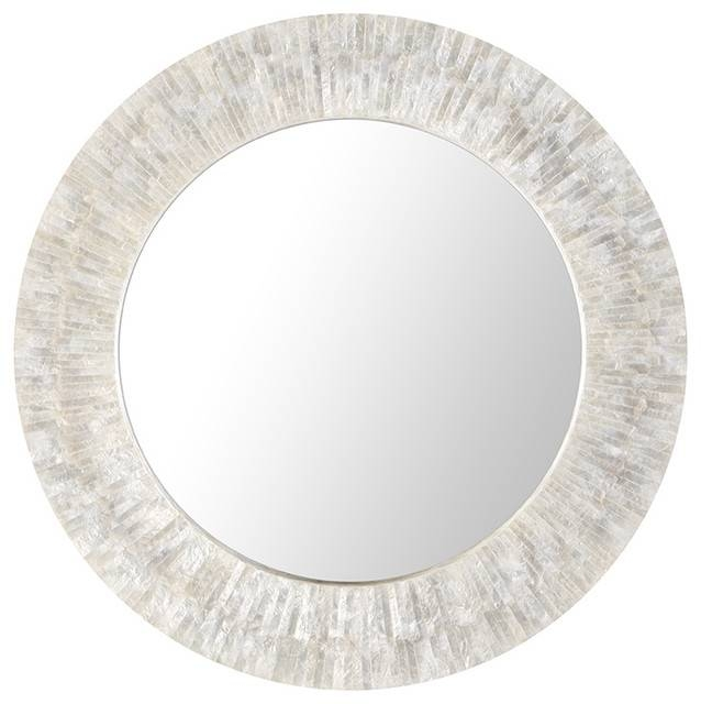 Inspiration about Round Capiz Seashell Sunray Wall Mirror, Pearlescent White – Beach Inside Round White Wall Mirrors (#12 of 15)