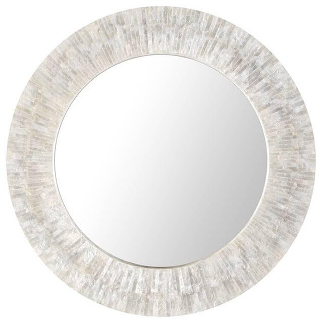 Round Capiz Seashell Sunray Wall Mirror, Pearlescent White – Beach Inside Round White Wall Mirrors (#7 of 15)