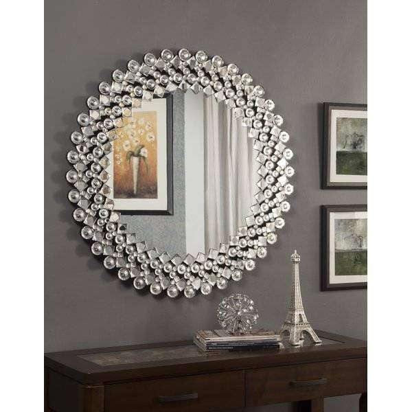 Round Crystal Wall Mirror | Wayfair With Crystal Wall Mirrors (#15 of 15)