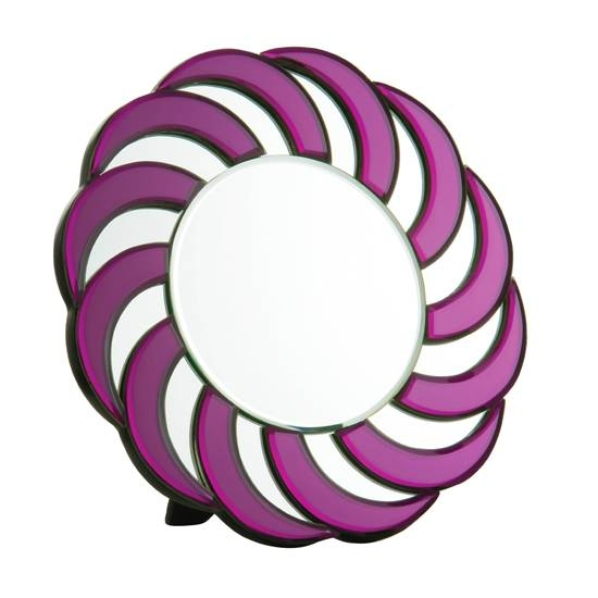 Round Purple Frame Wall Mirror 8600 Furniture In Fashion Throughout Purple Wall Mirrors (#11 of 15)