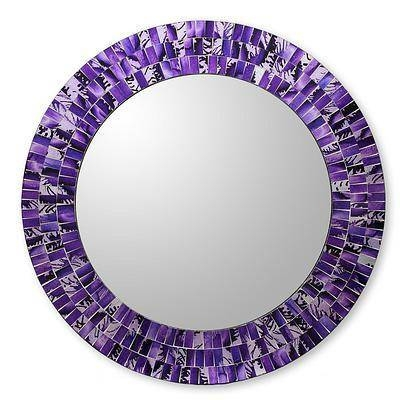 Round Wall Mirror And Frame Handcrafted With Mosaics – Purple In Purple Wall Mirrors (#12 of 15)