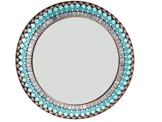 Round Wall Mirror In Turquoise Teal Gray And Copper Pertaining To Copper Wall Mirrors (View 13 of 15)