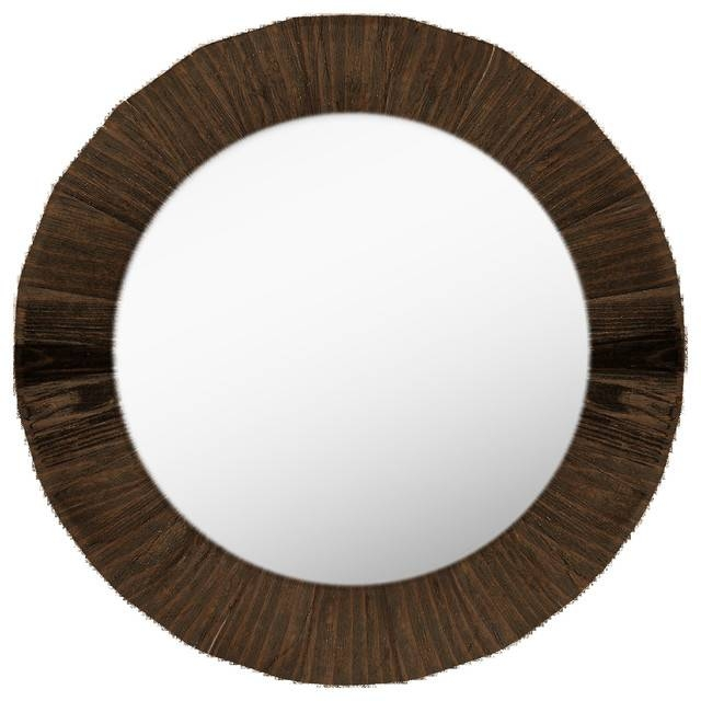Round Wall Mirror – Rustic – Wall Mirrors  Ptm Images In Dark Wood Wall Mirrors (#7 of 15)
