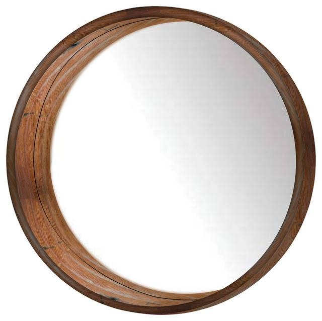 Round Wooden Wall Mirror – Rustic – Wall Mirrors  Ptm Images For Round Wall Mirrors (#15 of 15)