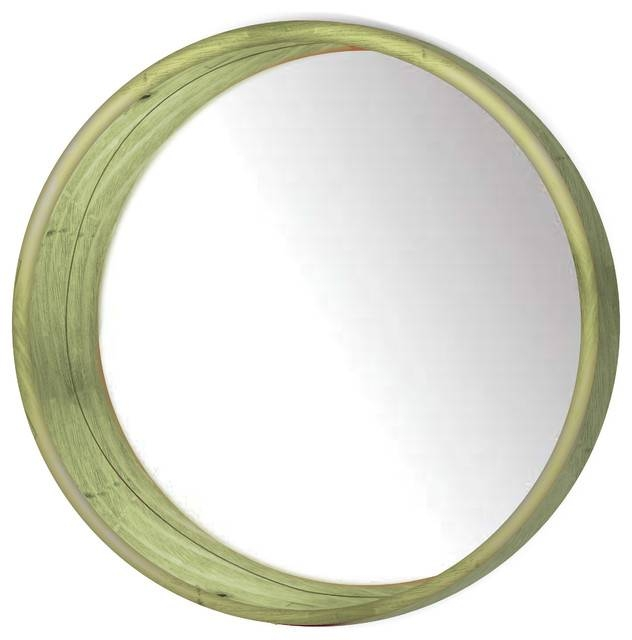 Round Wooden Wall Mirror – Wall Mirrors Ptm Images Within Green Wall Mirrors (View 7 of 15)