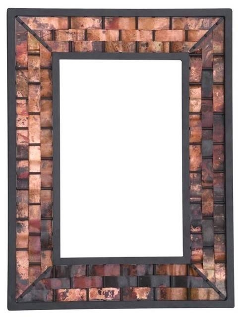Inspiration about Rushton Large Copper Wall Mirror, Natural Black – Contemporary With Copper Wall Mirrors (#7 of 15)