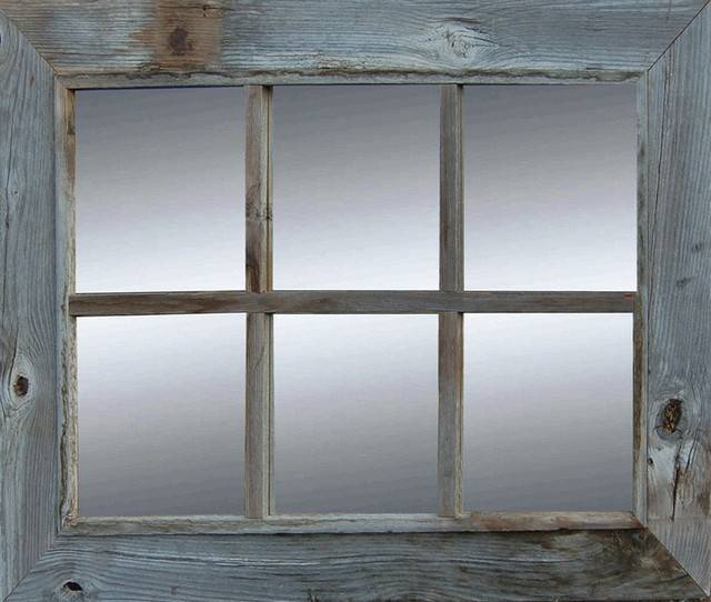 Rustic 6 Pane Reclaimed Barn Wood Mirror – Rustic – Wall Mirrors Intended For Window Wall Mirrors (#14 of 15)