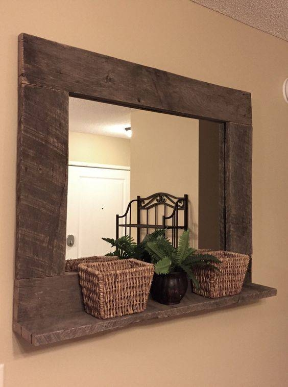 Inspiration about Rustic Wood Mirror Pallet Furniture Rustic Home Decor Reclaimed With Regard To Large Wooden Wall Mirrors (#4 of 15)