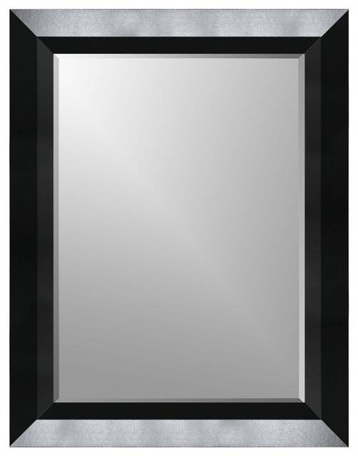Satin Black Beveled Frame Wall Mirror – Wall Mirrors  Expressions Intended For Flat Wall Mirrors (#5 of 15)
