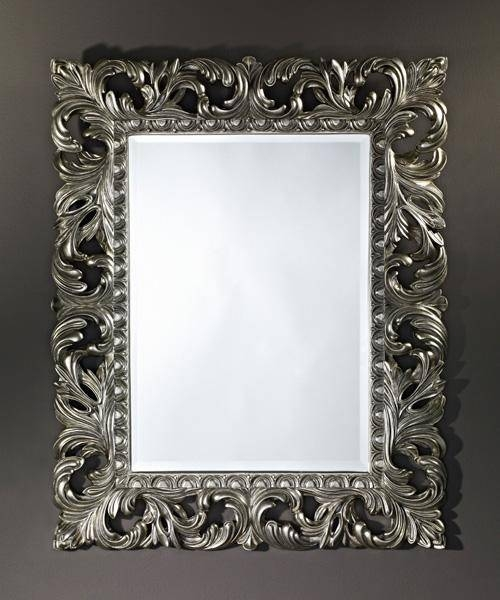 Sculpture Silver Decorative Framed Bevelled Wall Mirrordeknudt For Silver Wall Mirrors (#12 of 15)