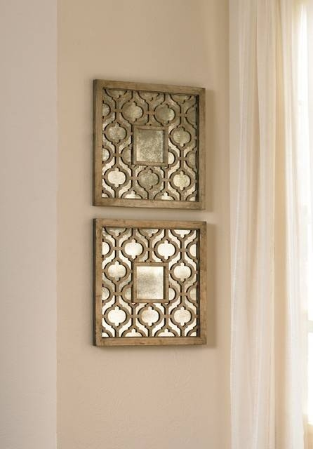 Set Of Two Square Silver Sorbolo Decorative Wall Mirrors Mirror With Regard To Wall Mirror Sets Of (View 3 of 15)