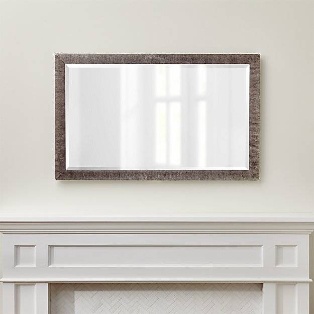 Silver Birch Rectangular Wall Mirror | Crate And Barrel Regarding Glass Wall Mirrors (#12 of 15)