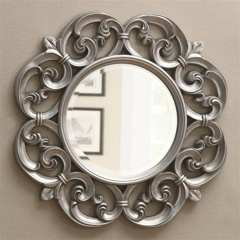 Silver Fleur De Lis Ornate Round Wall Mirrorcoaster – 900699 Pertaining To Silver Round Wall Mirrors (View 11 of 15)