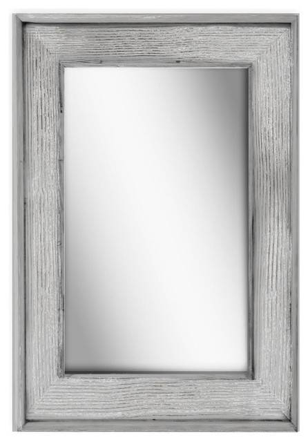 Silver Wood Wall Mirror | Houzz Throughout Grey Wall Mirrors (#14 of 15)