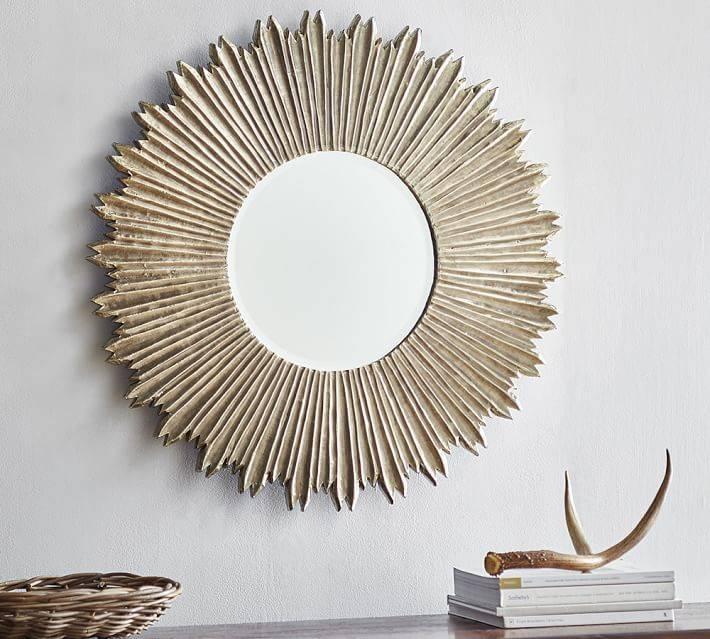 Soleil Wall Mirror | Pottery Barn Regarding Decorative Wooden Mirrors (#14 of 15)