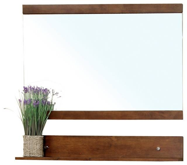 Solid Wood Frame Mirror, Walnut – Contemporary – Wall Mirrors – In Wall Mirrors With Shelf (#13 of 15)