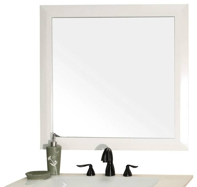 Solid Wood Frame Mirror White – Modern – Wall Mirrors  Corbel Throughout Modern Framed Mirrors (#14 of 15)