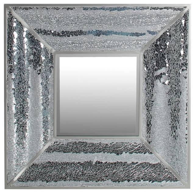 Square Crackle Glass Aluminum Accent Mosaic Wall Mirror, 28 Intended For Glass Mosaic Wall Mirrors (View 10 of 15)