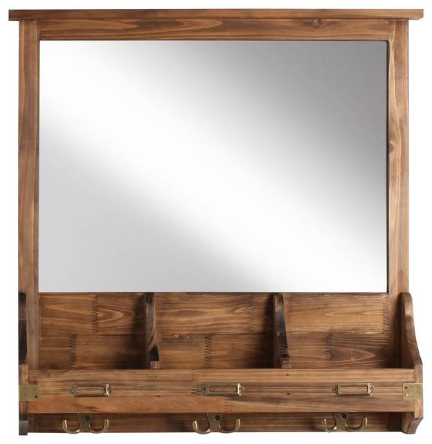 Stallard Decorative Rustic Wood Framed Mirror With Hooks Pertaining To Wall Mirrors With Hooks And Shelf (View 15 of 15)