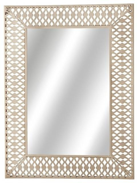 Stamped Rectangle Wall Mirror, White – Contemporary – Wall Mirrors With Rectangular Wall Mirrors (#13 of 15)