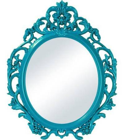 Teal Baroque Oval Wall Mirror | Everything Turquoise For Turquoise Wall Mirrors (#14 of 15)