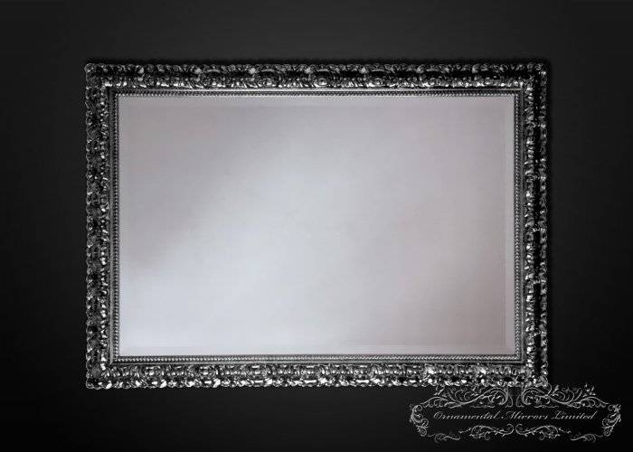 Temptation Rectangular Silver Wall Mirrors With Black Accent From In Silver Wall Mirrors (#14 of 15)