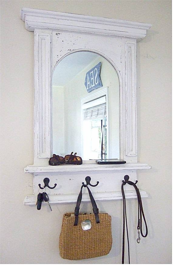The White Arch Mirror With Shelf & Hooks Handmade French Throughout White Wall Mirrors With Hooks (#6 of 15)