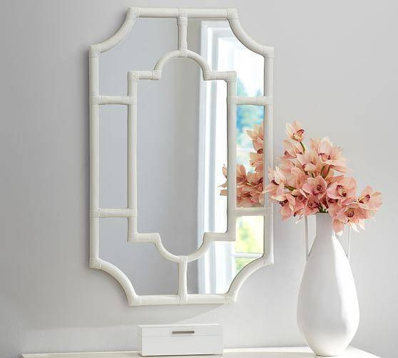 Threshold Patterned White Wall Mirror Pertaining To White Frame Wall Mirrors (#12 of 15)