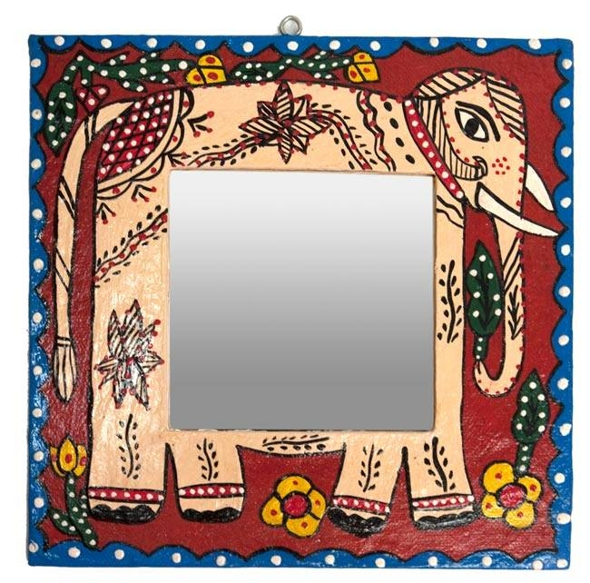 Tirakita | Rakuten Global Market: Madhubani Painting Wall Mirrors Regarding Hand Painted Wall Mirrors (#13 of 15)