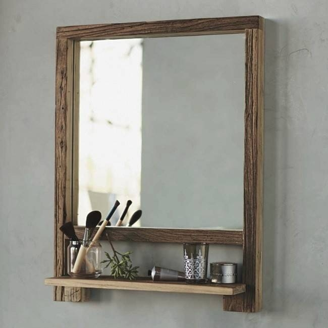 Trendy Ideas Wooden Bathroom Mirror With Shelf Solid Wood Frame Inside Wall Mirrors With Shelf (#14 of 15)
