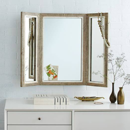 Trifold Mirror | West Elm Pertaining To Tri Fold Wall Mirrors (#12 of 15)