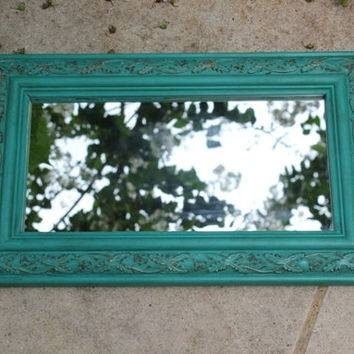 Turquoise Antique Rectangular Wall From Blue Wolf Home | Mirrors Within Turquoise Wall Mirrors (#15 of 15)