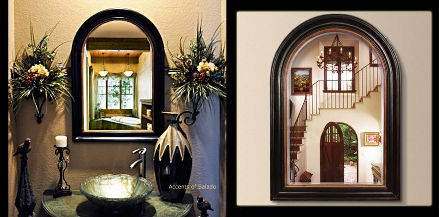 Tuscan Old World Style Mirrors Black Arch Mirror Pertaining To Tuscan Style Wall Mirrors (#9 of 15)