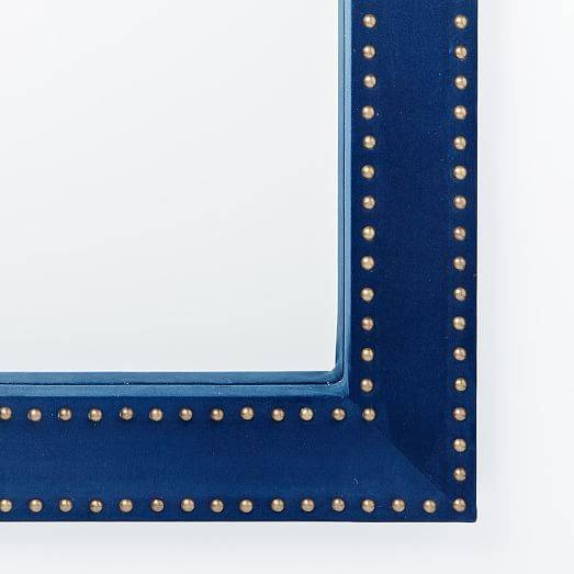 Inspiration about Upholstered Wall Mirror – Ink Blue Velvet | West Elm Within Blue Wall Mirrors (#1 of 15)